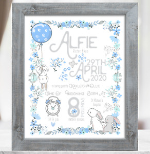 Bunny Rabbit Personalised New Baby Boy Gift, Christening Baptism Gift, Baby Gift