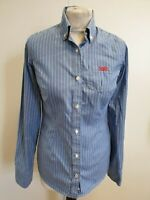 """DD522 WOMENS SUPERDRY BLUE WHITE STRIPED CASUAL SHIRT UK XS 4-6 32"""""""