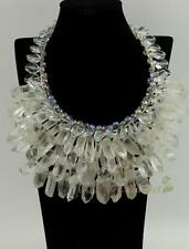 N14071101 rock specimen column DT point quartz crystal flower necklace earrings