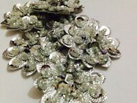 Pack Of 5 Silver Beaded Flower Motifs , Applique, Xmas (36mm Approx In Size)