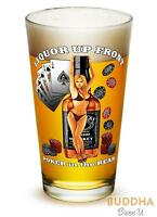 Liquor Up Front Poker in the Rear Poker Cards Chips Set of 2 Large Pint Glasses
