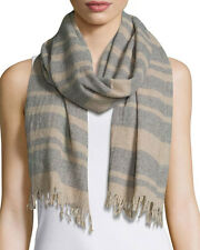 NWT EILEEN FISHER ITALIAN RECLAIMED STRIPED CASHMERE SCARF/WRAP RET $148