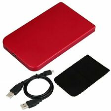 """Magenta USB 2.5"""" Hard Drive IDE HDD HD External Enclosure Case + Leather Pouch"""