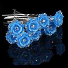 Blue Rose Shimmer Crystal Hair Pins Grip Clip Party, Wedding, Prom, Bridal x10