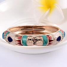 Enamel Gold Plated Cubic Zirconia Statement Charm Bangles Jewelry
