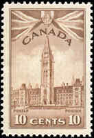 Mint NH Canada 10c 1942 F-VF Scott #257 Parliament Buildings War Issue Stamp