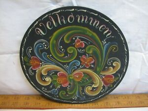 Ethel Kvalheim Tole Painted Velkommen Welcome Sign Norwegian Rosemaling Plate