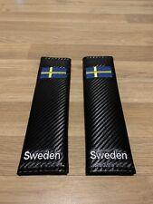 2X Seat Belt Pads Carbon Present Sweden Scania Volvo Saab AB Flag Map World Race