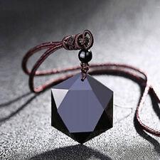 Collar unisex negro obsidiana piedra colgante joyería suéter cadena adornos