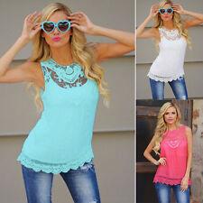 UK Women Chiffon Cold Loose Casual Sleeveless Tops Blouse Shirt Ladies Lace Tees
