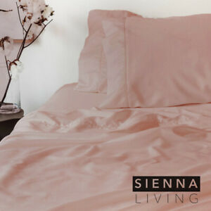 SIENNA LIVING Luxury Bamboo Cotton Sheet Set Blush (NEW 2021 Colour) All Sizes