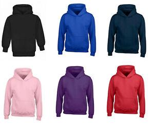 Kids Boys Girls Plain Hoody Hooded Sweatshirt Unisex Hoodie Pullover