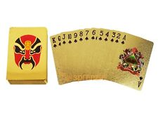 Red Mask Gold Playing Cards 24k Foil Plated Full Deck Poker Gamble Chinese Opera