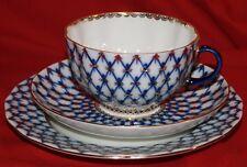 Russian Imperial Porcelain, cup, saucer & plate, cobalt net, tulip