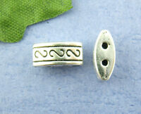 FREE SHIPPING 50Pcs NEW Silver Tone 2Holes Spacer Beads