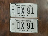 SET VINTAGE OHIO STATE LICENSE PLATE PAIR DX 91 HISTORICAL VEHICLE LOW NUMBER