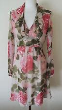 Valentino umwerfend Romantisch Seide Chiffon rose & peony Blumendruck Kleid S