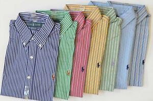 Polo Ralph Lauren Men's Custom Fit Long-Sleeve Striped Poplin Cotton Dress Shirt