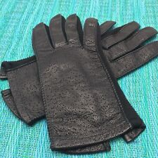 Vtg Deerskin Leather Driving Gloves Womens Black Button Close Stretch Estate