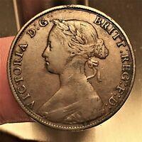 1861 Great Britain 1/2 Penny, Victoria, KM# 748.2, VF