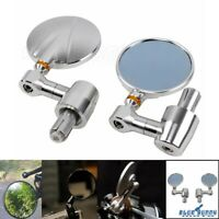 """Pair Motorcycle Round 7/8"""" & 1"""" Handle Bar End Rearview Side Mirrors For Chopper"""