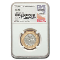 2000-W Gold/Platinum $10 Library of Congress MS-70 NGC (M Castle) - SKU#212103