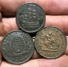 1844 -1852 & no date Canada 1/2 Penny . Bank Tokens
