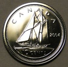 PL BU UNC Canada 2004 10c 10 cent dime bluenose coin from mint set proof-like
