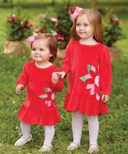 Girls MUD PIE boutique Christmas dress 6-9 6-12 NWT red velour poinsettia party