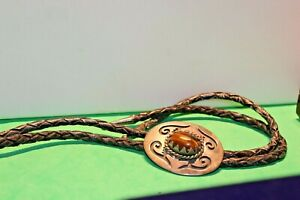Vintage Sterling Native American Bolo Tie Tigers Eye 40x52 mm
