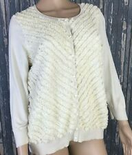 Talbots Women's Petites Embellished Ivory Button Up Silk Cotton Sweater Size XL