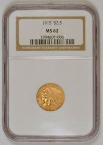 1915 $2.50 Indian Head U.S. Quarter Eagle Gold Coin, Graded MS62 by NGC