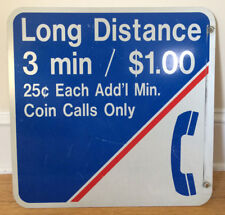 Vintage Metal TELEPHONE BOOTH SIGN coin calls only RARE americana collectible