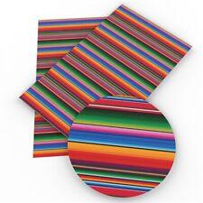 """Serape Stripes FAUX LEATHER SHEET 8"""" X 13"""" 20X34CM WHOLESALE PRINTED A4 1064669"""