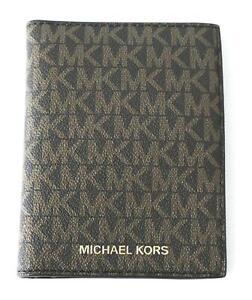 Michael Kors Men's Jet Set Monogram Passport Wallet KB8 Brown/Acorn Small