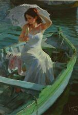 "Russian Vladimir Volegov ""Lakeside Reflection"" Deluxe Embellished Canvas,  w/COA"
