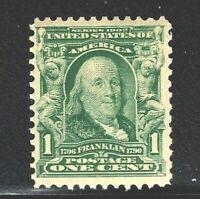 [FE]   US #300 MNH OG ~1902-3 Green 1c Franklin ~ Fresh & Sound