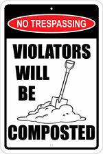 "NO TRESPASSING-VIOLATORS COMPOSTED, SHOVEL, BURRIED, 2A, 12""X18"" ALUM SIGN, 2ND"