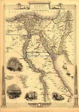 A1 (83.8x58.4cm) Large Antique Vintage Map Egitto & Arabia Petraea Vecchio Piano