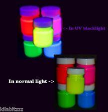 5 Couleurs X 30ml Pots Fluorescent UV Brille Blacklight Peintures