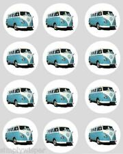 12 VW Campervan Cupcake Decoration Edible Cake Toppers Pre Cut 40mm