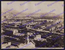 ORIG. foto Alfred Noack Genova panorama porto FERROVIE GRU le navi a vapore 1890!!!