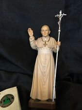 "Pope John Paul II Hand Carved Painted Figurine 6"" Italy"