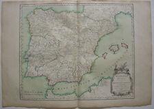 Spanien España Hispania antiqua Baleares kolor Kupferstichkarte Vaugondy 1750