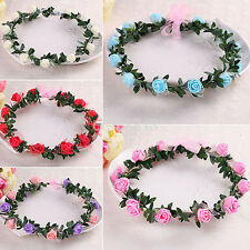 Bridal Rose Flower Crown Headband Wedding Prom Beach Floral Garland Wreath
