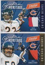 LOT Mike Singletary / D Hester Bears 2020 Prestige NFL Heritage Jersey Patch /50