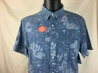 St John's Bay Hawaiian Shirt Chambray Coral Reef Jellyfish Seahorse Men Size XL