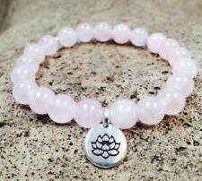 Natural Rose Quartz Stone Beads 8 Mm Mala Cuff Bracelet Yoga Pendant 7.5 Inches