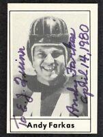 ANDY FARKAS {1916-2001} Signed 1977 Touchdown Card REDSKINS FULLBACK 37-TDs JSA