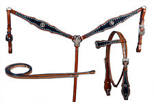 Western Set Of Headstall/Breast Collar & Reins Black Overlay and matching stones